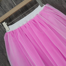 White Pink Tutu Tulle Skirt Puffy 4 Layered Party Full Circle Tulle Skirt Knee  image 3
