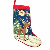 Vintage Cross Stitch Christmas Stocking Reindeer Santa Handmade - $63.69