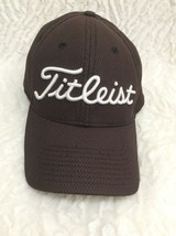 Titleist Men's Golf Baseball Hat Cap Dk Brown /White Letters Sz M/L Vent... - $14.84