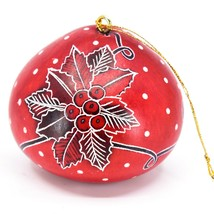 Handcrafted Carved Gourd Art Red Candy Cane & Holly Holiday Ornament Made Peru
