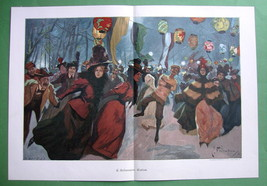 "WINTER FUN at Ice Skating Rink Evening - COLOR Victorian Era Print 14.5"" x 21"" image 2"