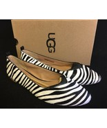 UGG Australia LYNLEY EXOTIC ZEBRA PRINT CALF HAIR BALLET FLATS WOMENS 10... - $89.99