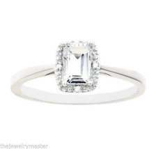 WHITE TOPAZ DIAMOND HALO ENGAGEMENT RING EMERALD CUT 925 .66 CARATS - £76.05 GBP