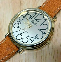 Vintage Moulin Men Gold Tone Large Leather Analog Quartz Watch Hours~New Battery - $9.49