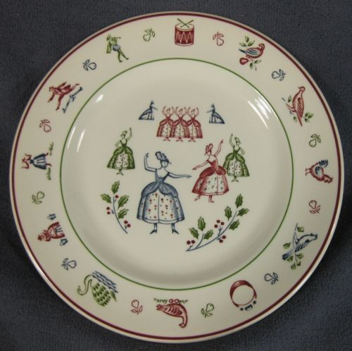 Nine Ladies Dancing Salad Plate Johnson Brothers Twelve Days of Christmas