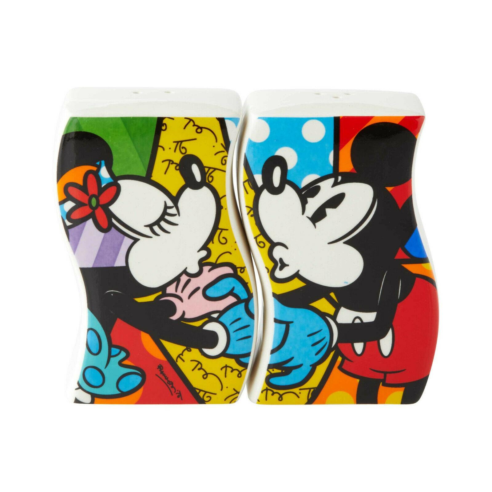 "Disney Britto 3"" high Mickey & Minnie Design Salt & Pepper Shakers Set"