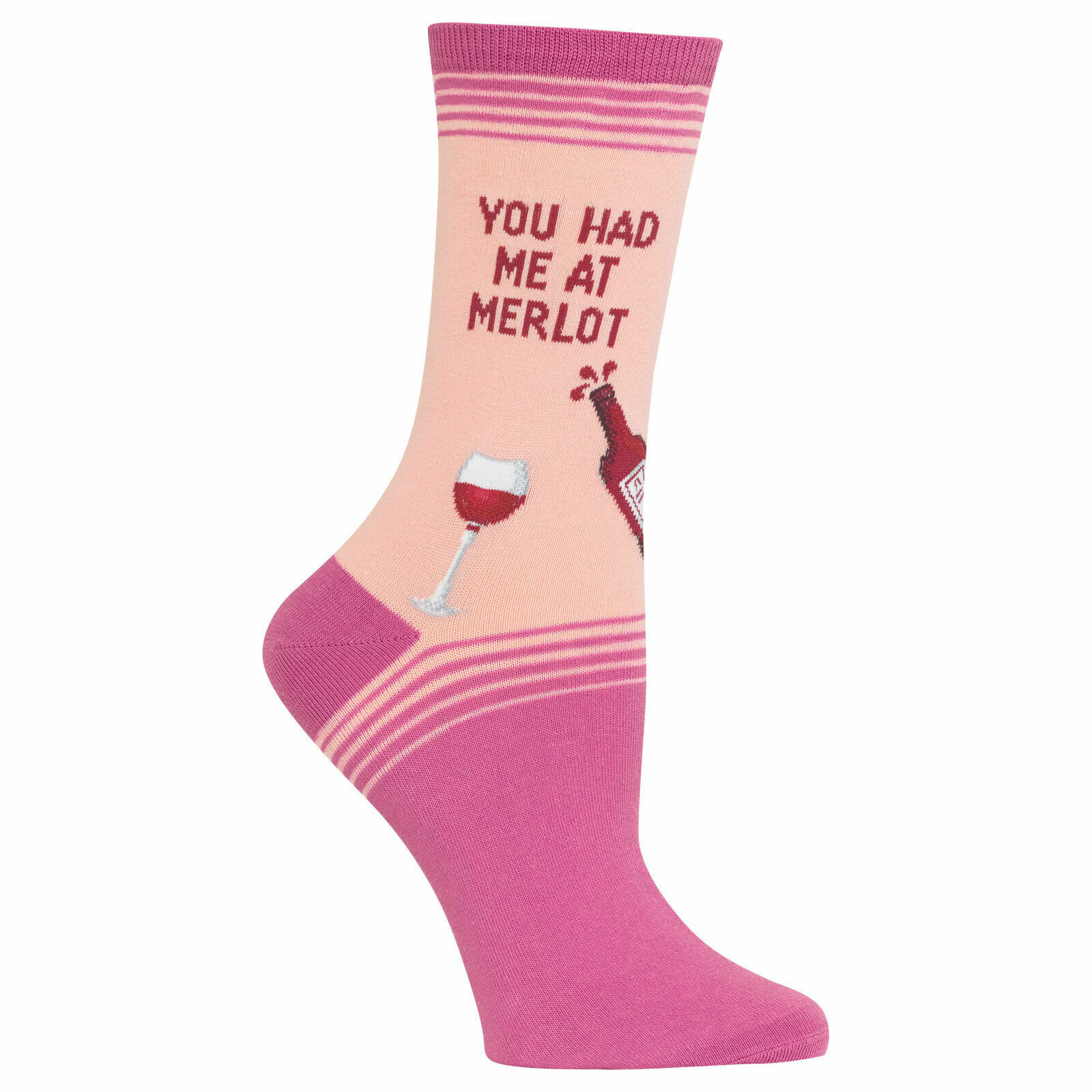 Hot Sox Women's You Had Me at Merlot Blush Pink Ankle Crew Socks New w Tag