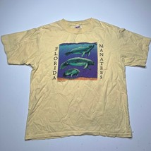 Vintage 90s Anvil Florida Manatees Graphic Yellow T Shirt Size Large Oce... - £17.94 GBP