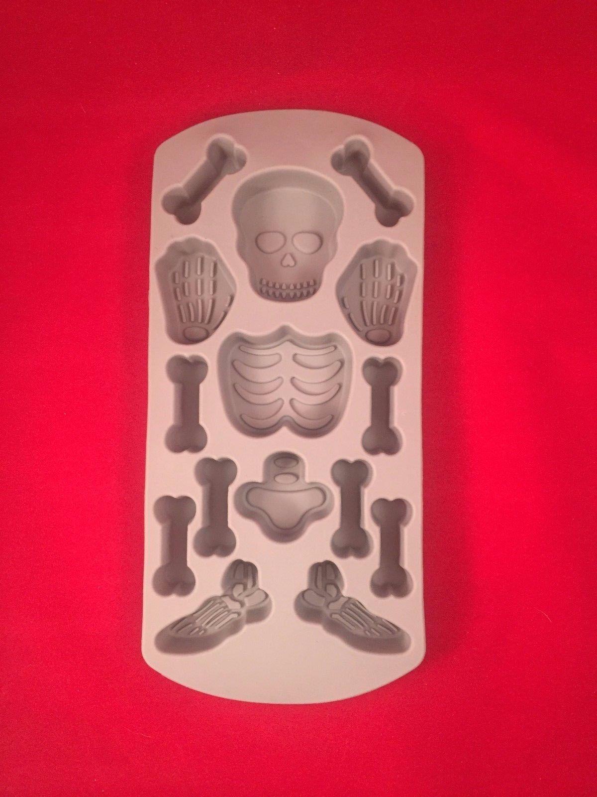 Halloween Skeleton Ice Cube Tray Skull Bones Chocolate Silicone Mold  Decoration