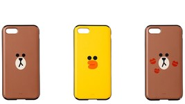 LINE FRIENDS Character iPhone 8 Mirror & Card Case 3 Types Official Goods - €34,34 EUR