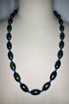 Vintage Green Yellow End Of Days Bakelite Tested Bead Beaded Necklace - $198.00