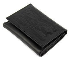 Levi's Men's Coated Leather Credit Card Trifold Wallet Embossed Logo Black image 6