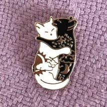 Ying Yang Cats Enamel Pin Black and White Day and Night  - $10.50