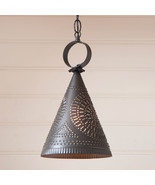"""MADISON"" PENDANT - Kettle Black Punched Tin Witch's Hat Cone Down Light... - $83.25"
