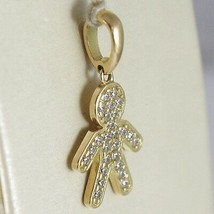 Yellow Gold Pendant 750 18k, Child, Kid along 2.3 cm Zirconia Made in Italy image 2