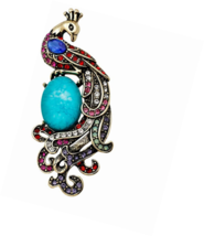 Classical Peacock Oval Turquoise Stone Women Brooch - $17.45