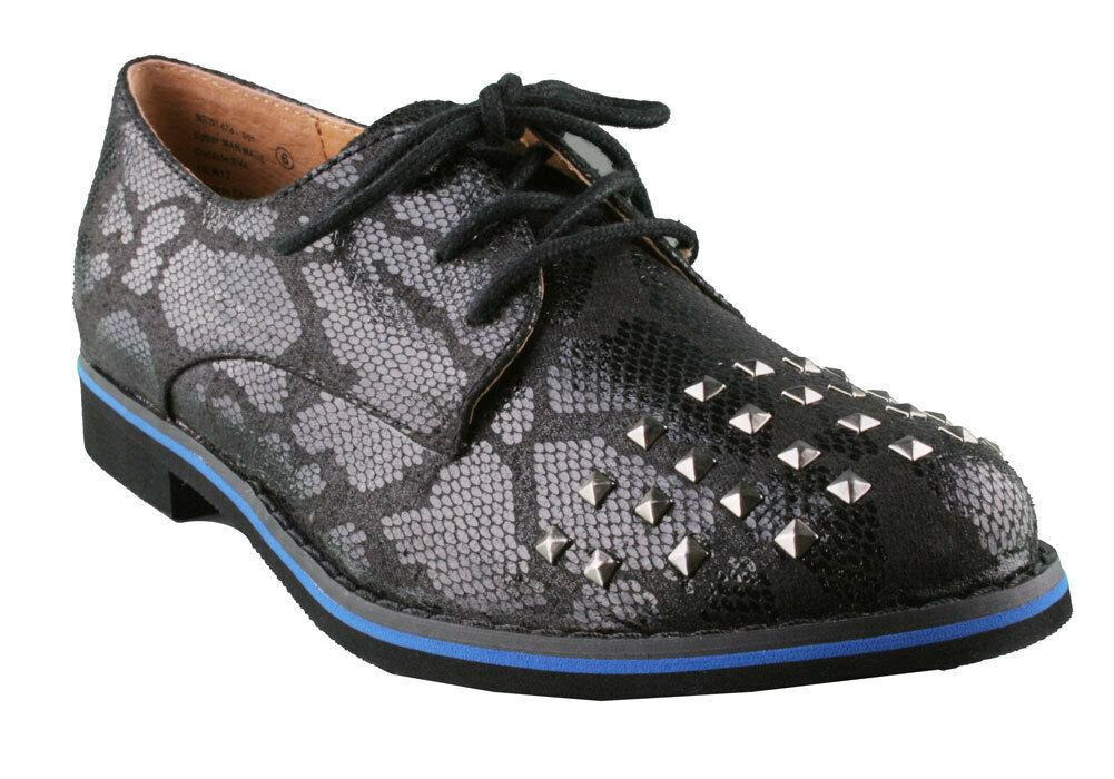 Not Rated Damen Schwarz Nieten Flach Knoxville Oxford Schuhe Ovp