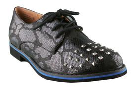 Not Rated Damen Schwarz Nieten Flach Knoxville Oxford Schuhe Ovp image 1