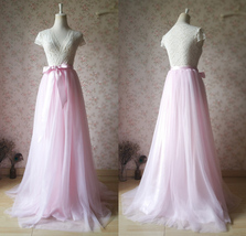 Floor Length Pink Tulle Skirt Pink Long Tulle Skirt Outfit Plus Size image 2