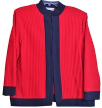 St. John Collection Red Sweater Black Jacket Marie Gray Hook & Eye Front... - $197.99