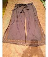 Vintage Hecho a Mano Burdeos Palazzo de Pierna Ancha Envoltura Pantalones - $64.37