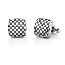 Stainless Steel Cushion Shape Chessboard Design Cufflinks - $49.99
