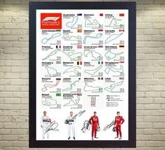 2019 F1 CALENDAR Lewis Hamilton Bottas Sebastian Vettel Leclerc signed ... - $21.68