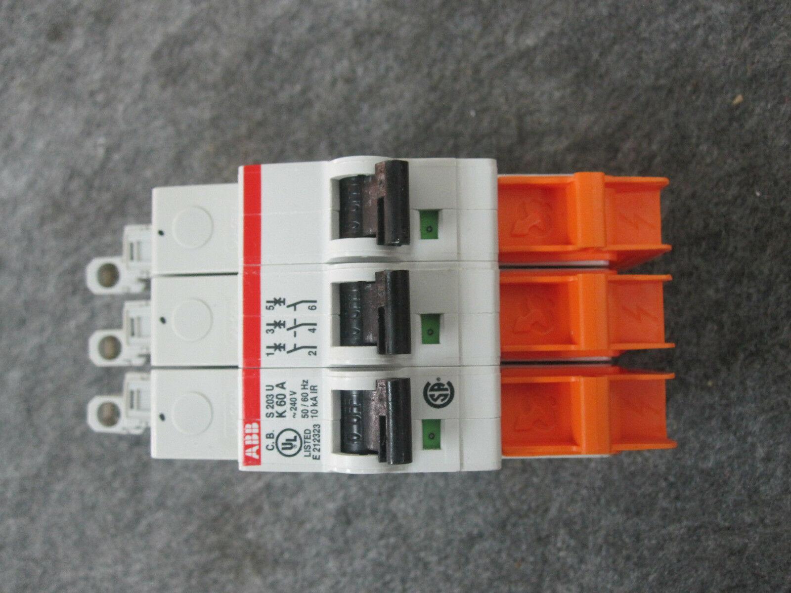 ABB S203U-K60A CIRCUIT BREAKER 60 AMP 3 POLE 240 VOLT 50/60 Hz