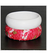Wooden Bangle Bracelet, Fabric Wrapped Red Floral Bangle, White Painted ... - $9.99