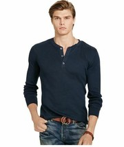 Polo Ralph Lauren Pima Cotton Stretched Jersey Henley Aviator Navy Tee    2XL - $57.42