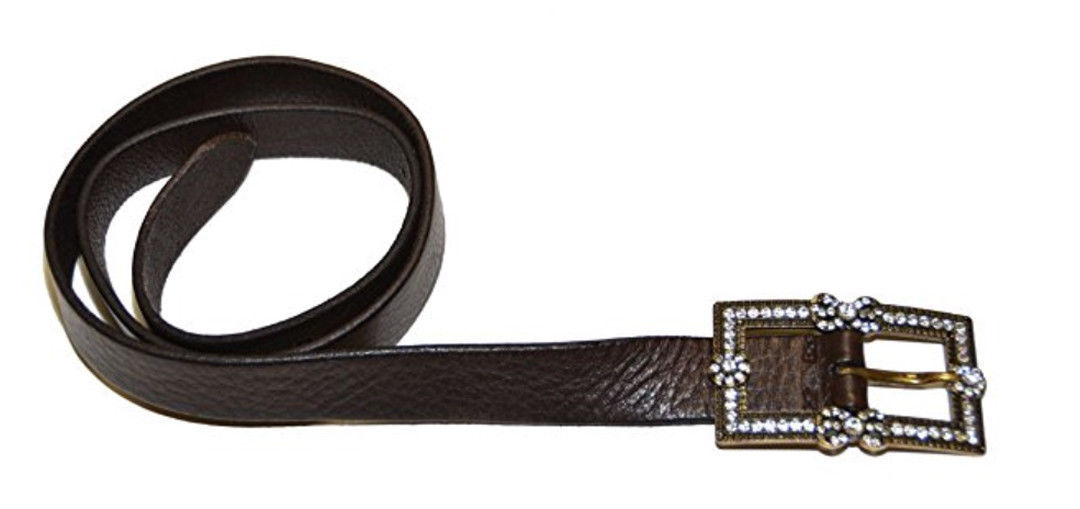 Ralph Lauren Women Fashion Genuine Leather Beads Belt - Size S - Dark Brown