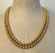 Vintage Signed Monet Double Strand Necklace Goldtone Beaded with Swirl Design 23 - $27.12