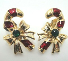 Christmas Candy Cane Pierced Earrings by Avon Goldtone Red Stripes - $12.22