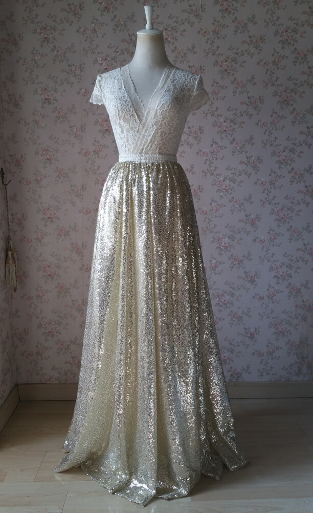 Gold maxi skirt gold sequin skirt 8