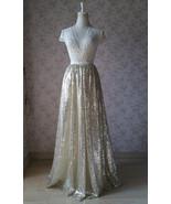 Gold Sequin Maxi Skirt Women Plus Size Sequin Maxi Skirt Sparkly Skirt - $55.99