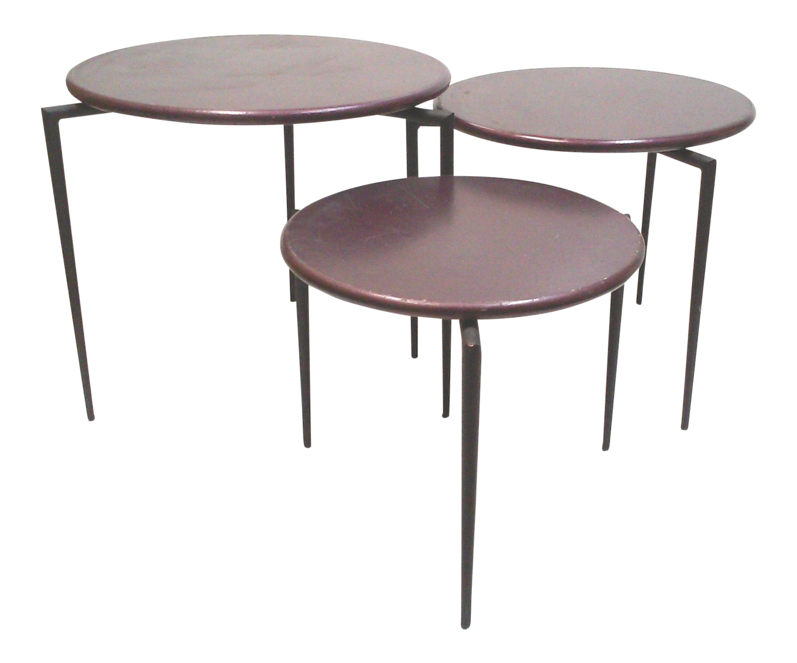 Aubergine round tripod nesting tables set of 3