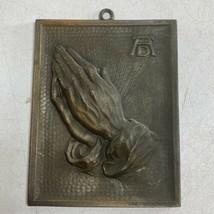 Vintage Praying Hands Wall Décor Ornate 3D Metal Achievements Elegance D... - $24.74