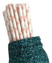 "7.75"" light pink jumbo polka dot print paper straws / 6-25 pieces / - $1.37 CAD+"
