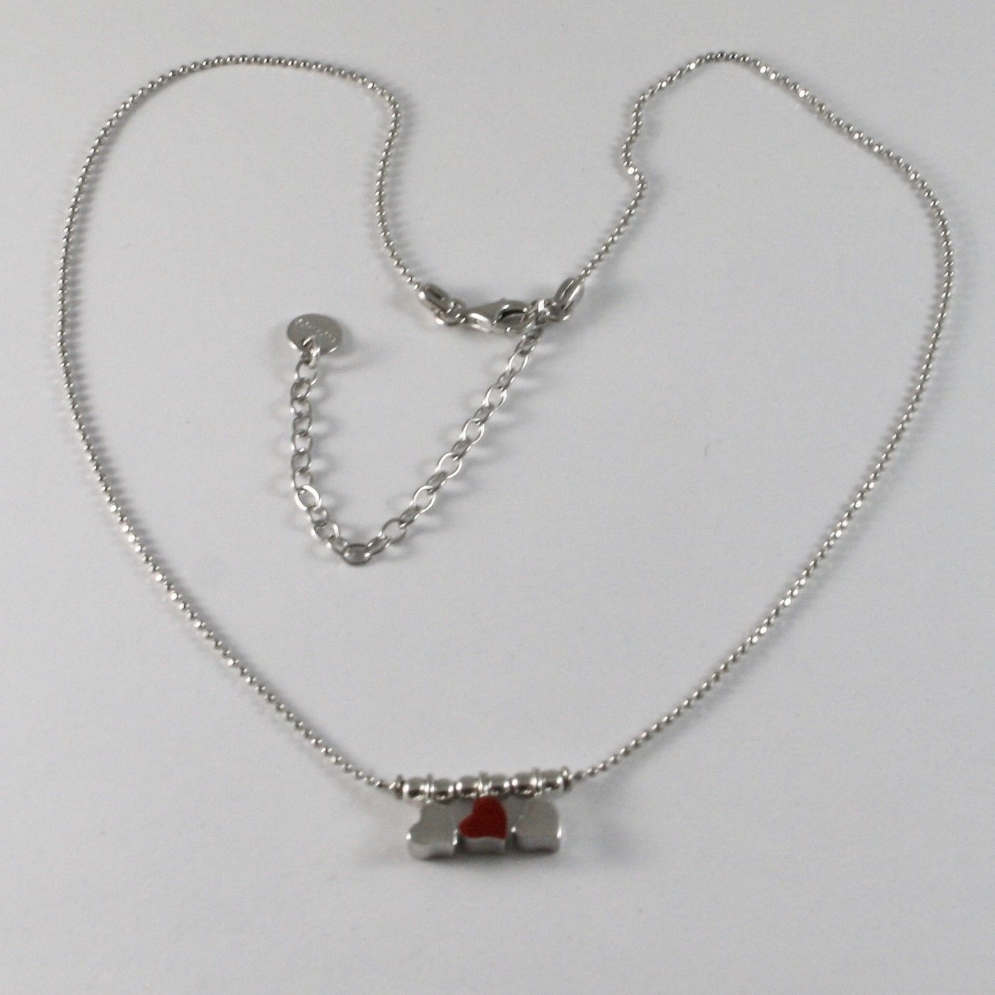925 Sterling Silver Necklace Jack&co with Hearts Transparencies and Enamelled