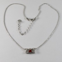 925 Sterling Silver Necklace Jack&co with Hearts Transparencies and Enamelled image 1