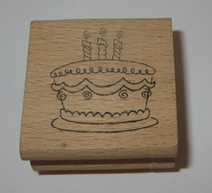 Birthday Cake Rubber Stamp Candles Dessert Celebration Wood Mounted #2 - $2.96