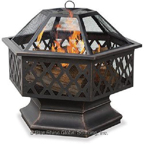 Wood Fire Pit Uniflame Hex Lattice Outdoor Patio Deck Fireplace