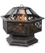 Wood Fire Pit Uniflame Hex Lattice Outdoor Patio Deck Fireplace - $151.00