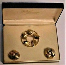Lady Coventry Collection Brooch & Earrings Gemstones & Pearl NOS - $58.41