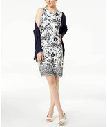 New $90 Charter Club Floral-Print Sleeveless Stretchy Dress Cloud Combo ... - $43.46