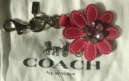 COACH Pink Jeweled Flower Leather Key Fob Charm  92745  - $50.00