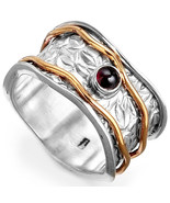 Spinner Garnet Leaf Ring 925 Sterling Silver Golden Wide Boho Women Size... - $21.98