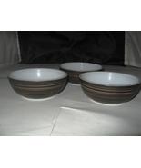 "(3) Corning Brown Black ""Terra"" Cereal Fruit Bowls - 5"" - $10.00"