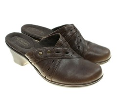 Clarks Bendables Womens Brown Leather Slip-ons Clogs Shoes Size 7M - $24.74