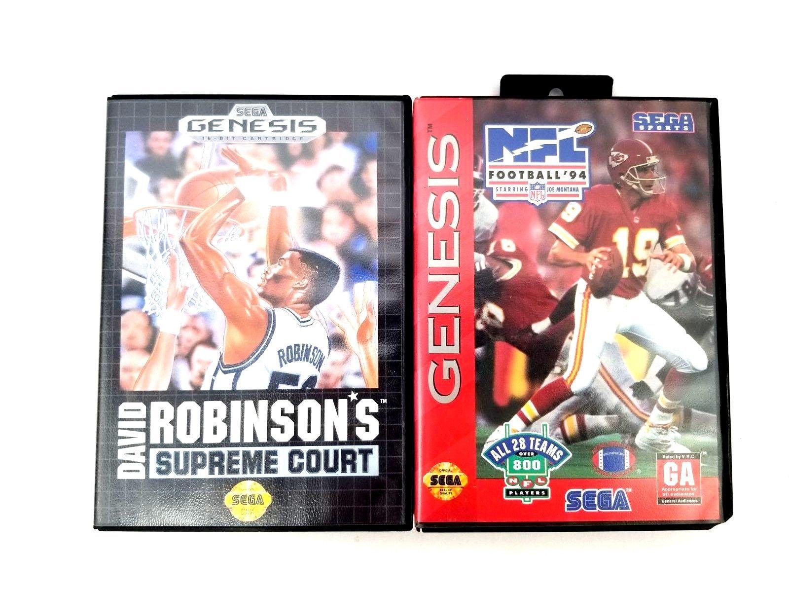 Sega Genesis Games David Robinson's Supreme Court 92 & NFL Football 94 w/Montana